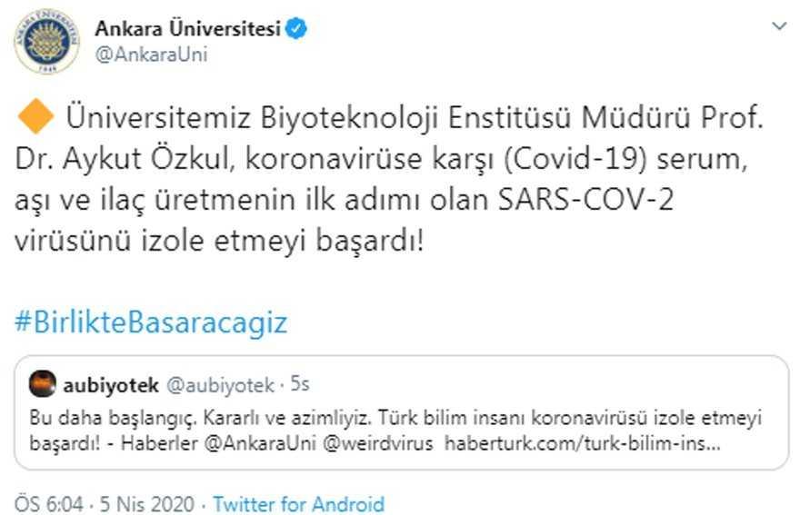 Ankara Üniversitesi açıkladı: SARS-COV-2 virüsü izole edildiğini açıkladı!